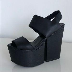 Matiko Black Leather Platforms, size 8